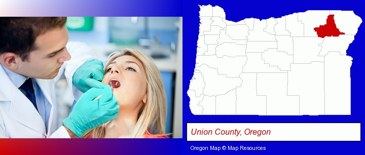 a dentist examining teeth; Union County, Oregon highlighted in red on a map