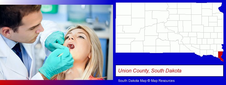a dentist examining teeth; Union County, South Dakota highlighted in red on a map