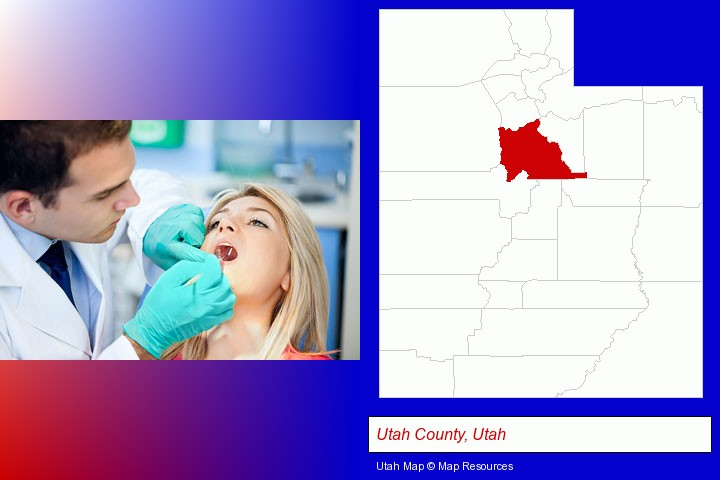 a dentist examining teeth; Utah County, Utah highlighted in red on a map