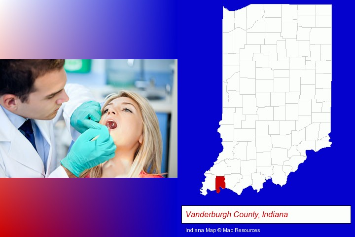 a dentist examining teeth; Vanderburgh County, Indiana highlighted in red on a map