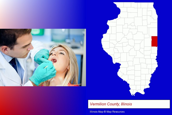 a dentist examining teeth; Vermilion County, Illinois highlighted in red on a map