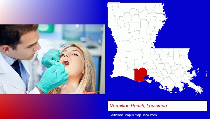 a dentist examining teeth; Vermilion Parish, Louisiana highlighted in red on a map