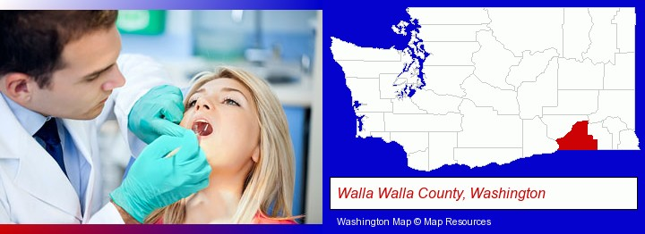 a dentist examining teeth; Walla Walla County, Washington highlighted in red on a map
