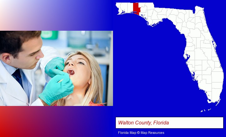a dentist examining teeth; Walton County, Florida highlighted in red on a map