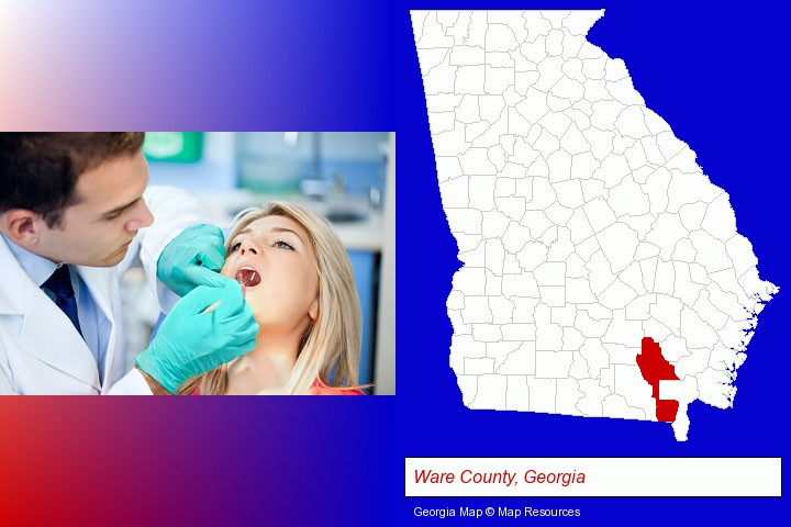 a dentist examining teeth; Ware County, Georgia highlighted in red on a map