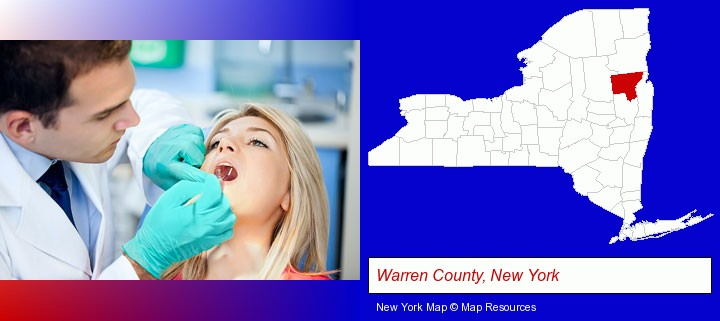 a dentist examining teeth; Warren County, New York highlighted in red on a map