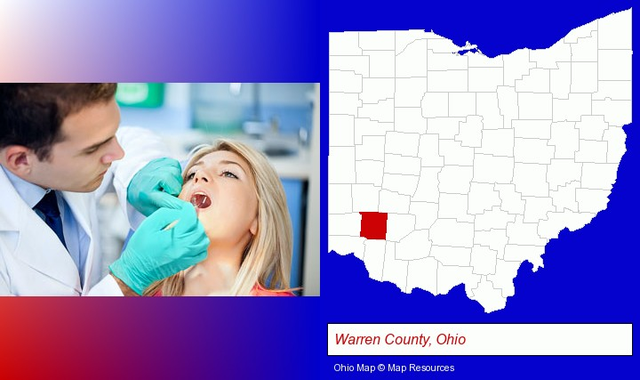 a dentist examining teeth; Warren County, Ohio highlighted in red on a map