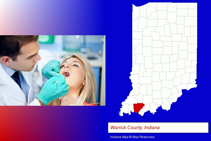 a dentist examining teeth; Warrick County, Indiana highlighted in red on a map
