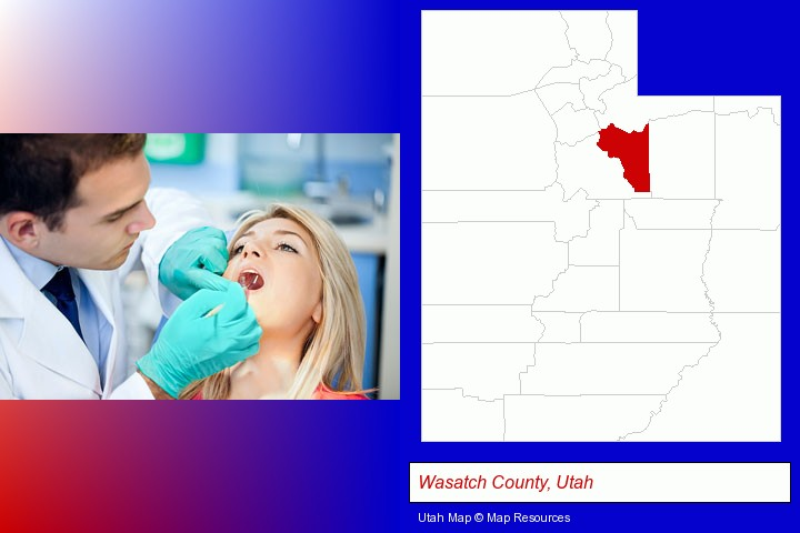 a dentist examining teeth; Wasatch County, Utah highlighted in red on a map