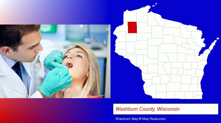 a dentist examining teeth; Washburn County, Wisconsin highlighted in red on a map