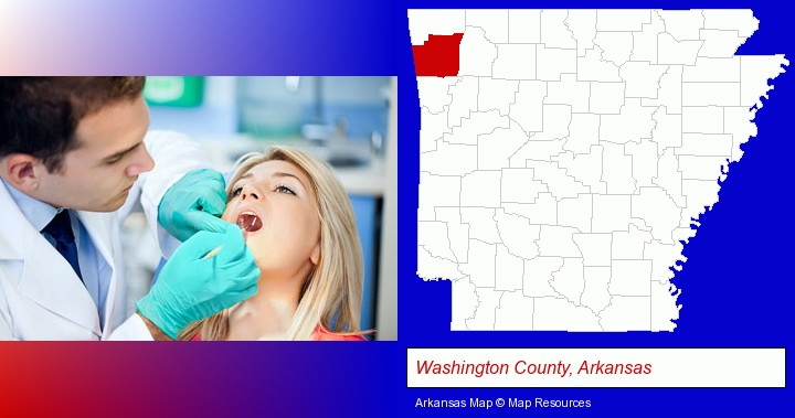a dentist examining teeth; Washington County, Arkansas highlighted in red on a map