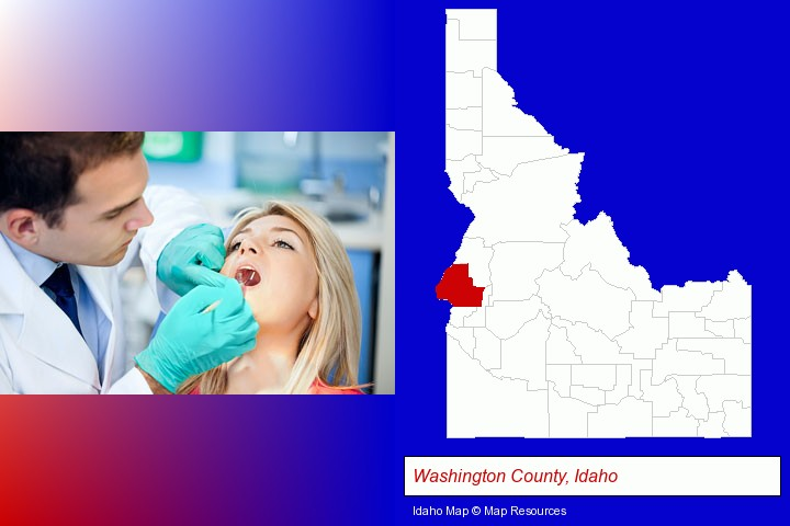 a dentist examining teeth; Washington County, Idaho highlighted in red on a map