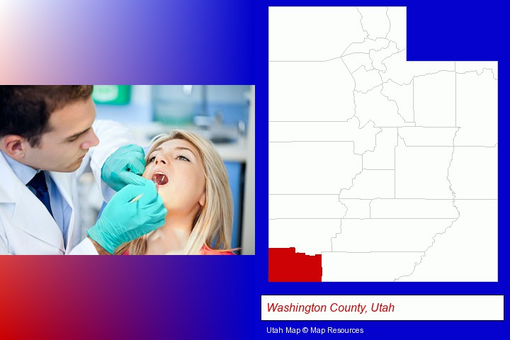 a dentist examining teeth; Washington County, Utah highlighted in red on a map