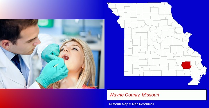 a dentist examining teeth; Wayne County, Missouri highlighted in red on a map