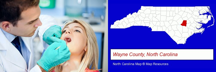 a dentist examining teeth; Wayne County, North Carolina highlighted in red on a map