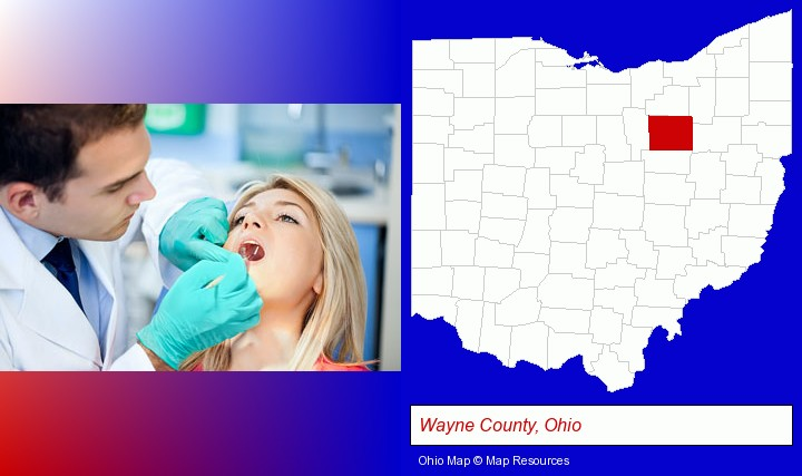 a dentist examining teeth; Wayne County, Ohio highlighted in red on a map