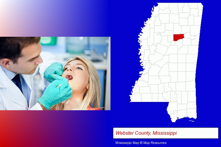 a dentist examining teeth; Webster County, Mississippi highlighted in red on a map