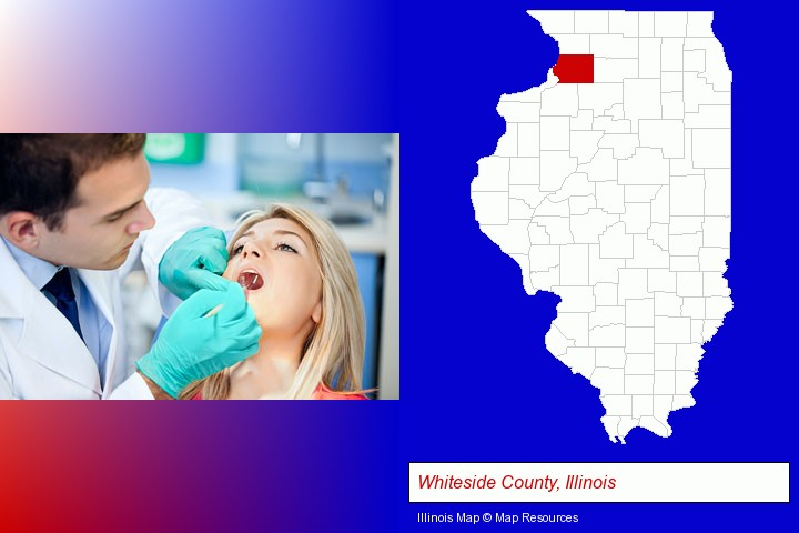 a dentist examining teeth; Whiteside County, Illinois highlighted in red on a map