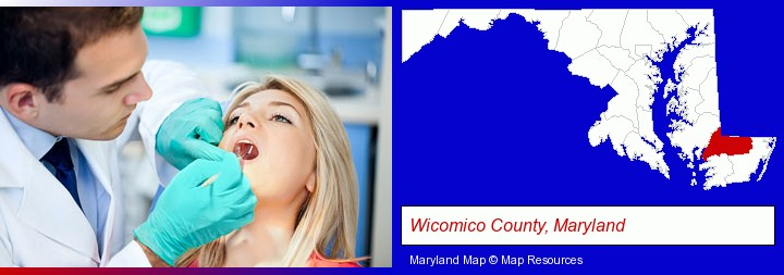 a dentist examining teeth; Wicomico County, Maryland highlighted in red on a map