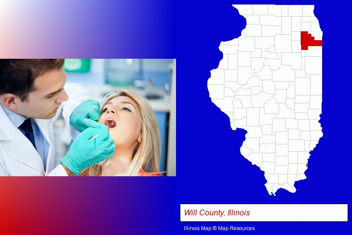 a dentist examining teeth; Will County, Illinois highlighted in red on a map