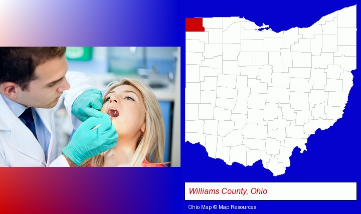 a dentist examining teeth; Williams County, Ohio highlighted in red on a map