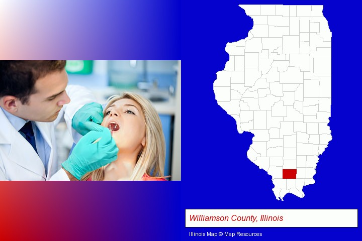 a dentist examining teeth; Williamson County, Illinois highlighted in red on a map