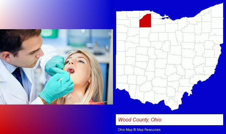 a dentist examining teeth; Wood County, Ohio highlighted in red on a map