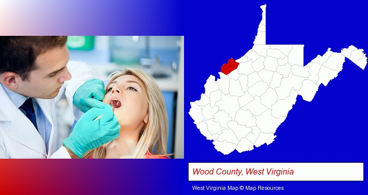 a dentist examining teeth; Wood County, West Virginia highlighted in red on a map