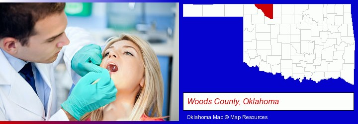 a dentist examining teeth; Woods County, Oklahoma highlighted in red on a map