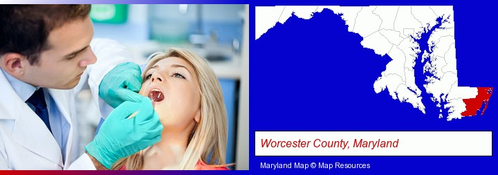 a dentist examining teeth; Worcester County, Maryland highlighted in red on a map