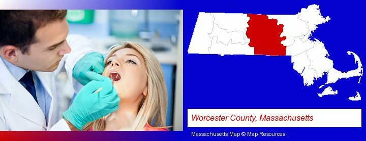 a dentist examining teeth; Worcester County, Massachusetts highlighted in red on a map